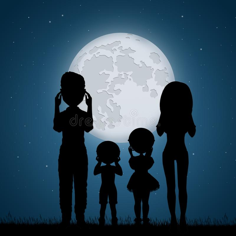 Family look the eclipse. Illustration of family look the eclipse royalty free illustration