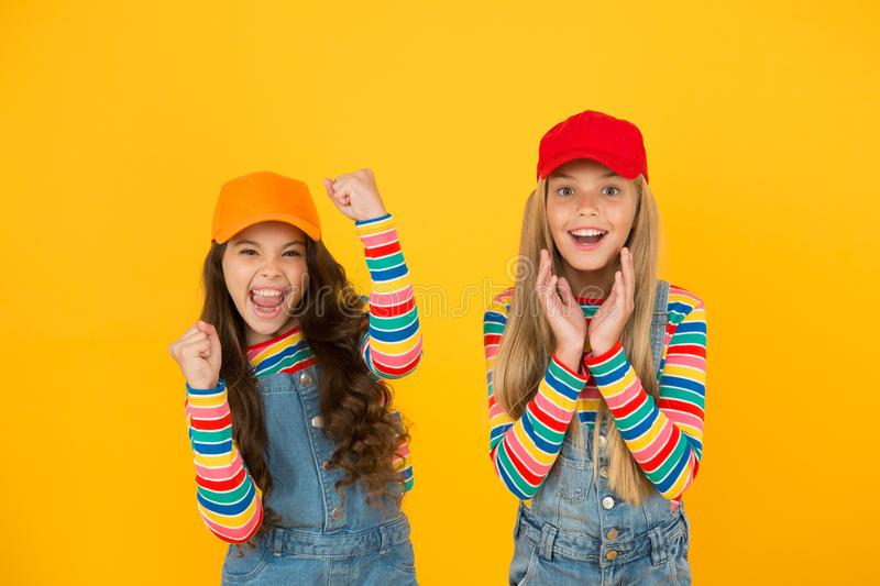 Family look. Stylish children. Universal childrens day. Promote international togetherness awareness among children. Worldwide and improving childrens welfare stock photos