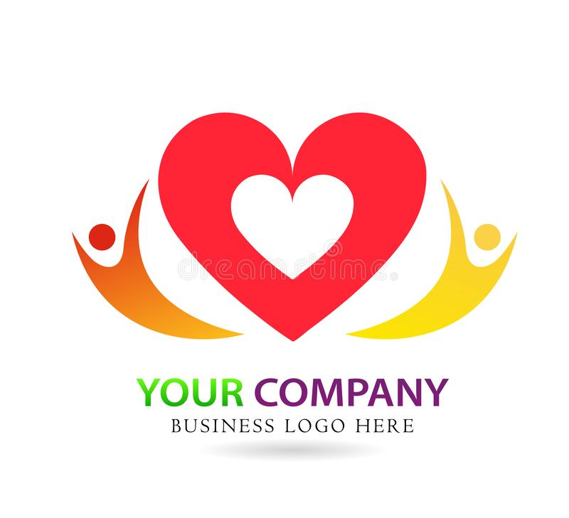 Family love care union in red heart company concept logo icon element sign on white background. Family love, together, care union in red heart company concept royalty free illustration