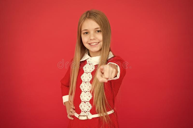 Family and love. childrens day. small girl child. School education. Good parenting. Child care. happy little girl on red royalty free stock images