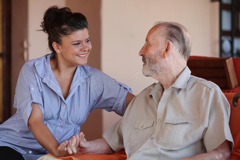 Family love grandparents and grandchildren. stock image
