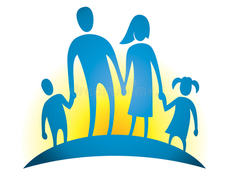 Family Love Logo. An logo icon of a family walking on a sunrise background