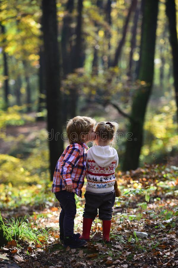 Family love and trust. Little boy kiss small girl friend in autumn forest. Brother kiss sister with love in woods stock image