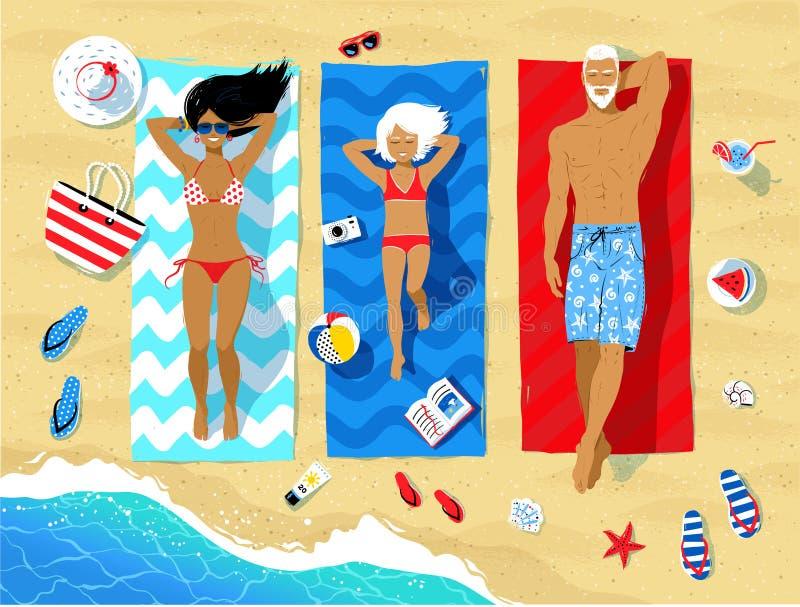 Family lying on beach and sunbathing vector illustration