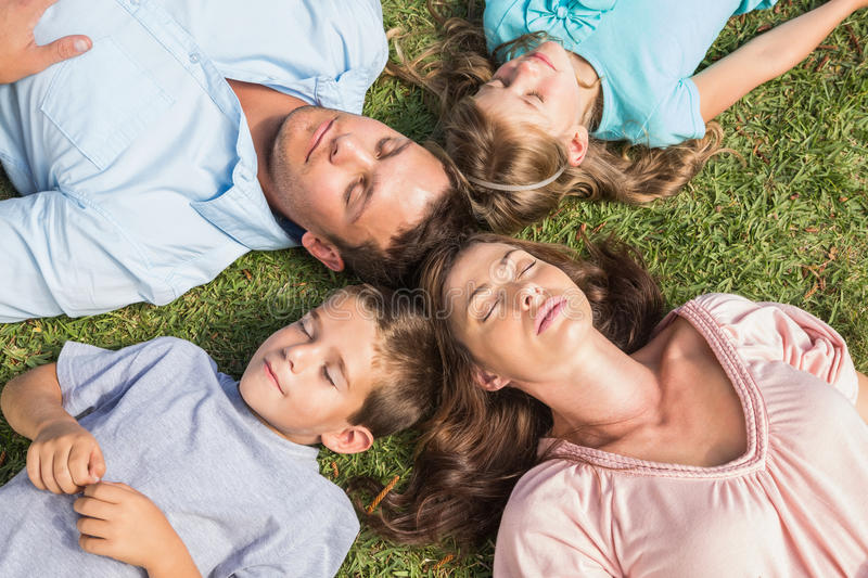 Download Family Lying On The Grass In A Circle Stock Photo - Image of asleep, eyes: 33052574