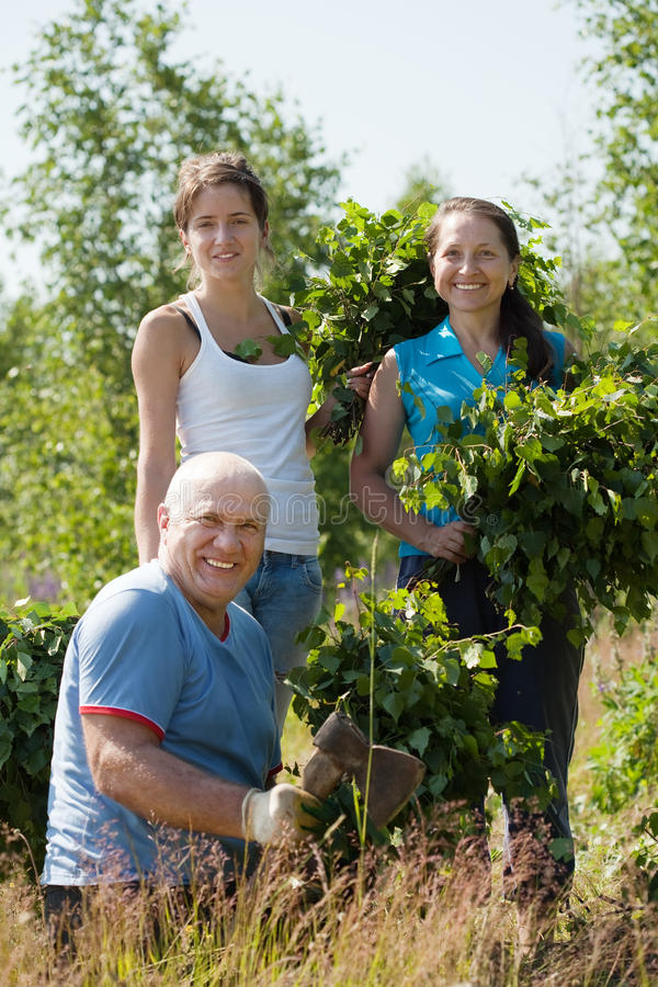 Family Making Birch Besom Royalty Free Stock Image
