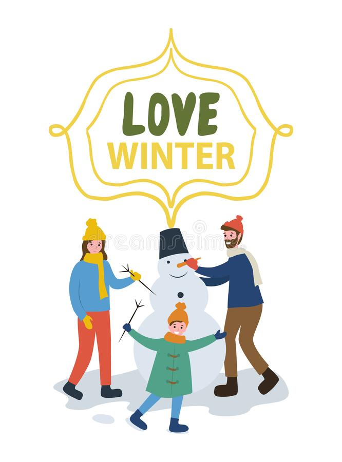 Family Making Snowman, Card Love Winter Vector. Family making snowman. Smiling mum and child holding branch near father with carrot nose. Parents and son in warm royalty free illustration