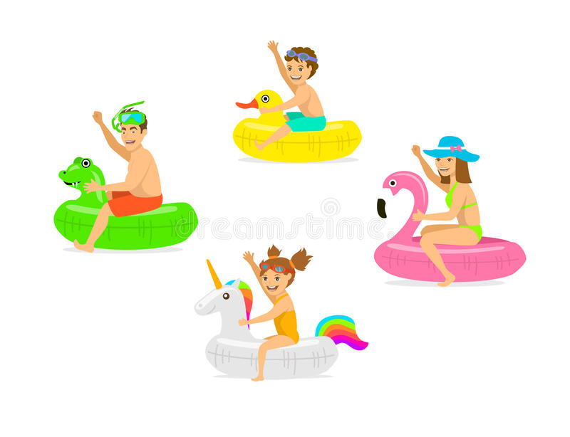 Family, man woman, parents and children on summer time vacation swimming on inflatable floating mattress rings in shapes of dragon royalty free illustration
