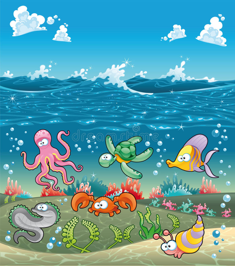 Family of marine animals under the sea. vector illustration