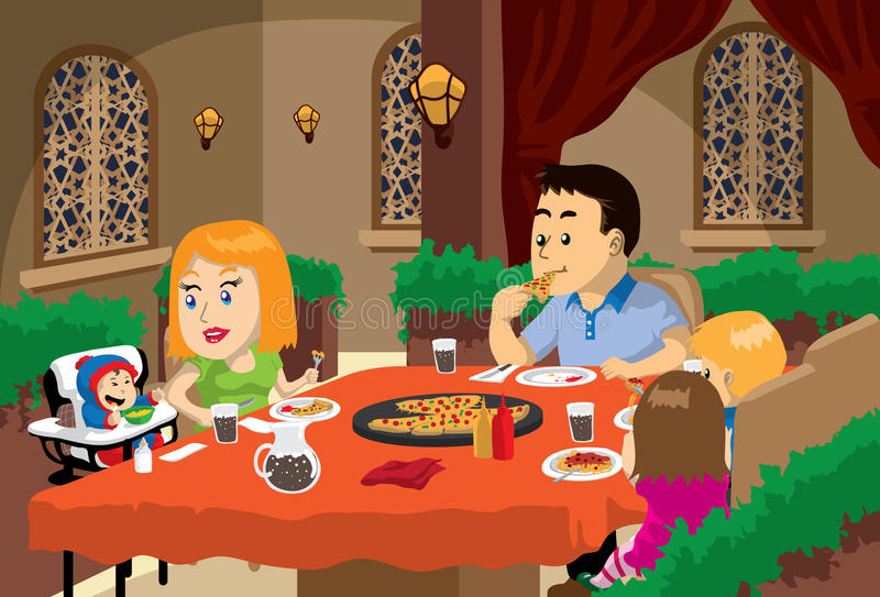 Family Meal Time stock illustration