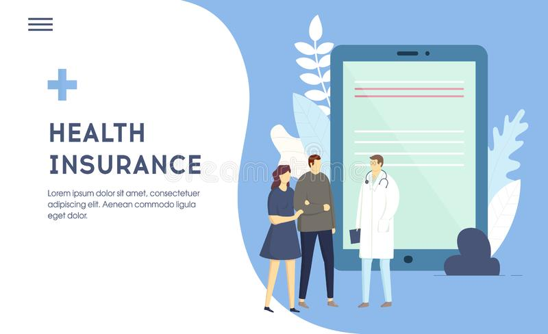 Family medical health Insurance concept. Couple man and woman patients are signing insurance Contract with Doctor. vector illustration