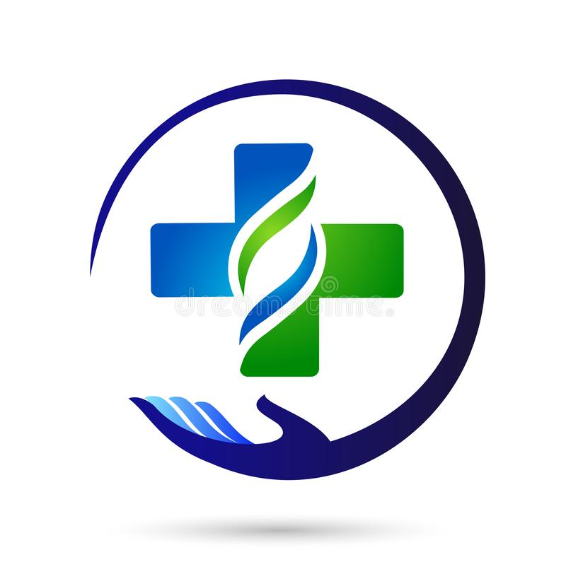Family medical healthy life cross clinic hands care logo parent kids love, protect symbol icon design vector on white background. Family hands care medical stock illustration