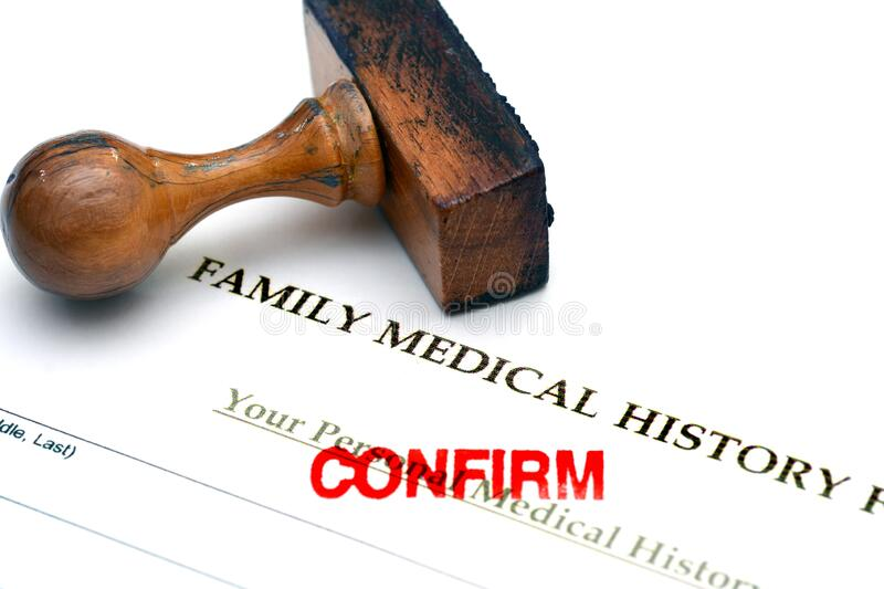 Family medical history. Close up of Family medical history stock image