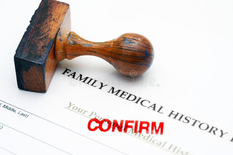 Family medical history - confirm. Close up of Family medical history - confirm stock image