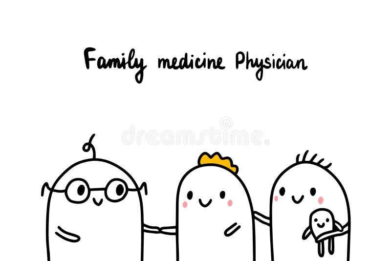 Family medicine physician hand drawn  illustration with cartoon doctor. Men minimalism style vector illustration