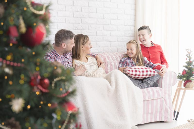 Family meeting in living room stock images