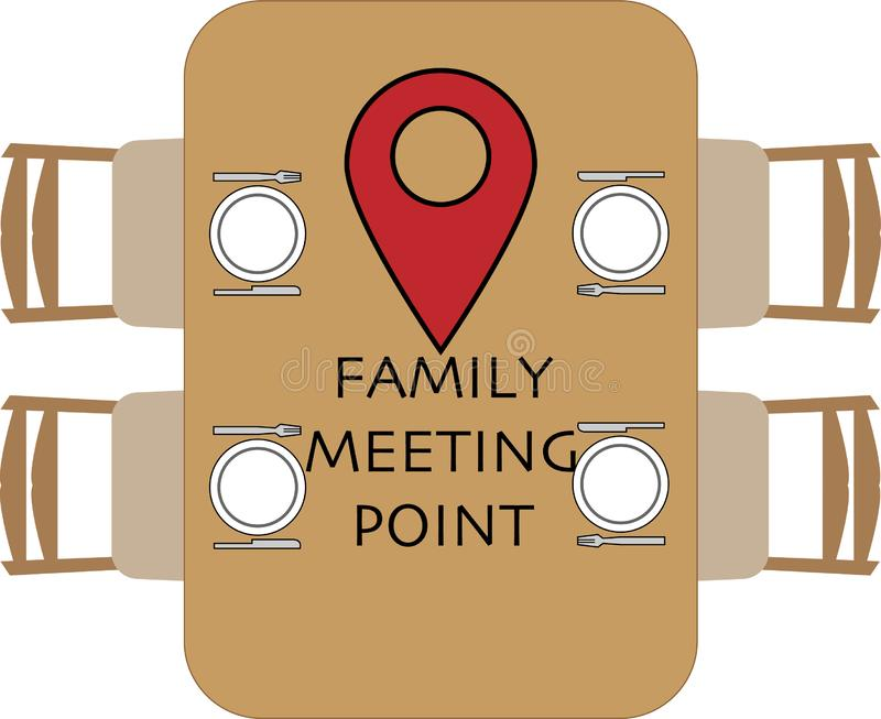 Family meeting point at the round table stock illustration