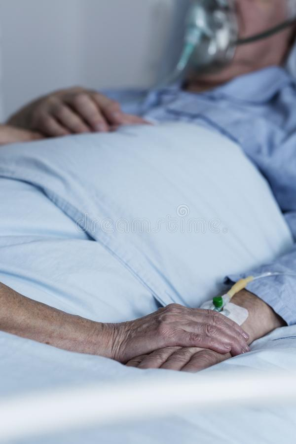 Family member comforting dying patient royalty free stock photos