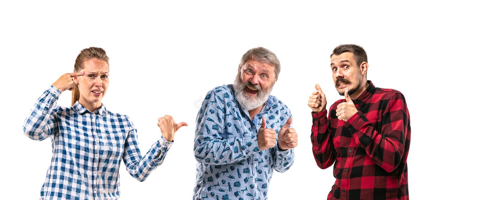 Family members arguing with one another on white studio background. royalty free stock photo