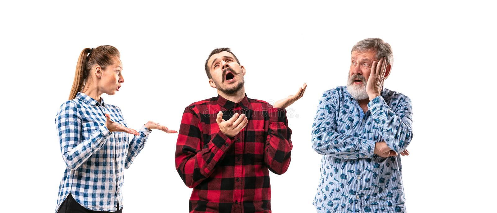 Family members arguing with one another on white studio background. stock image