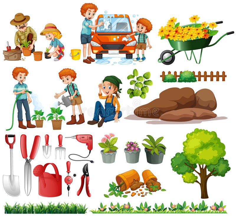 Family members doing chores and gardening vector illustration