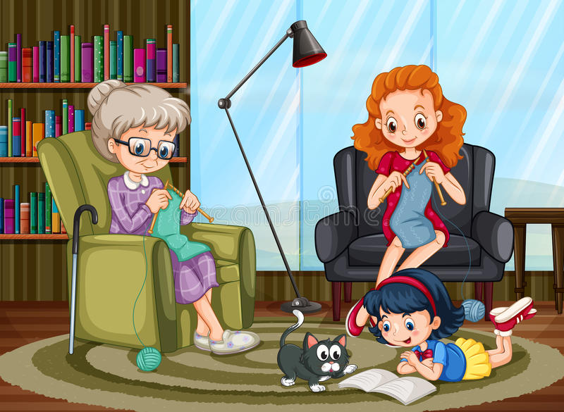 Family members enjoying freetime together stock illustration