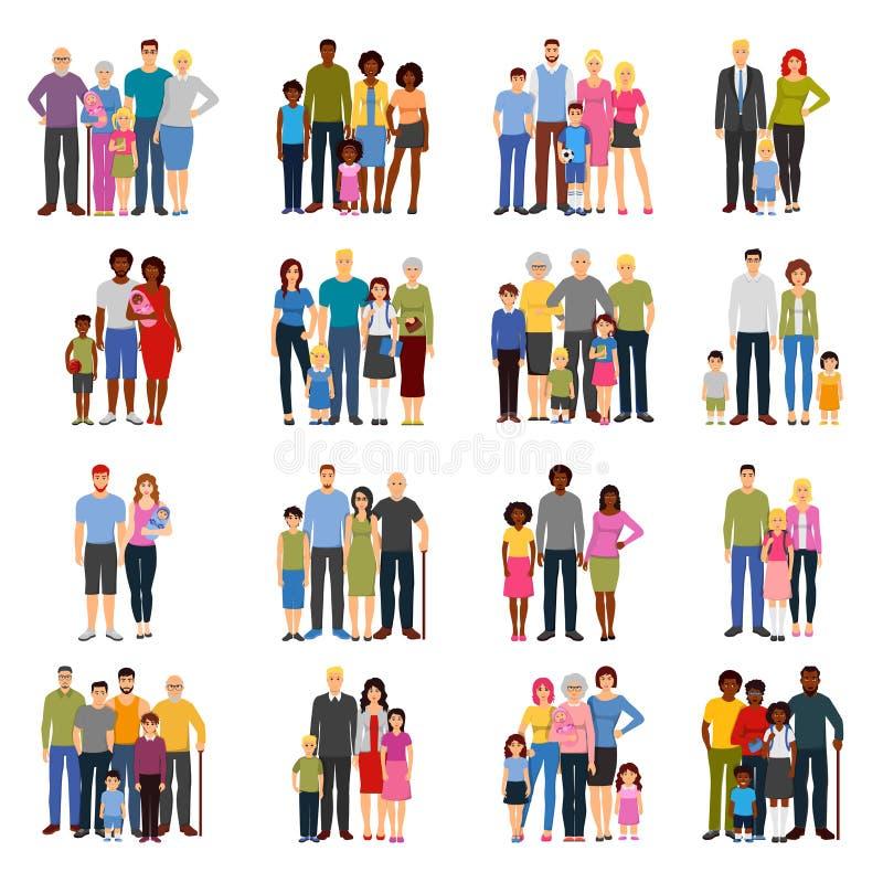 Family Members Groups Flat Icons Set stock illustration