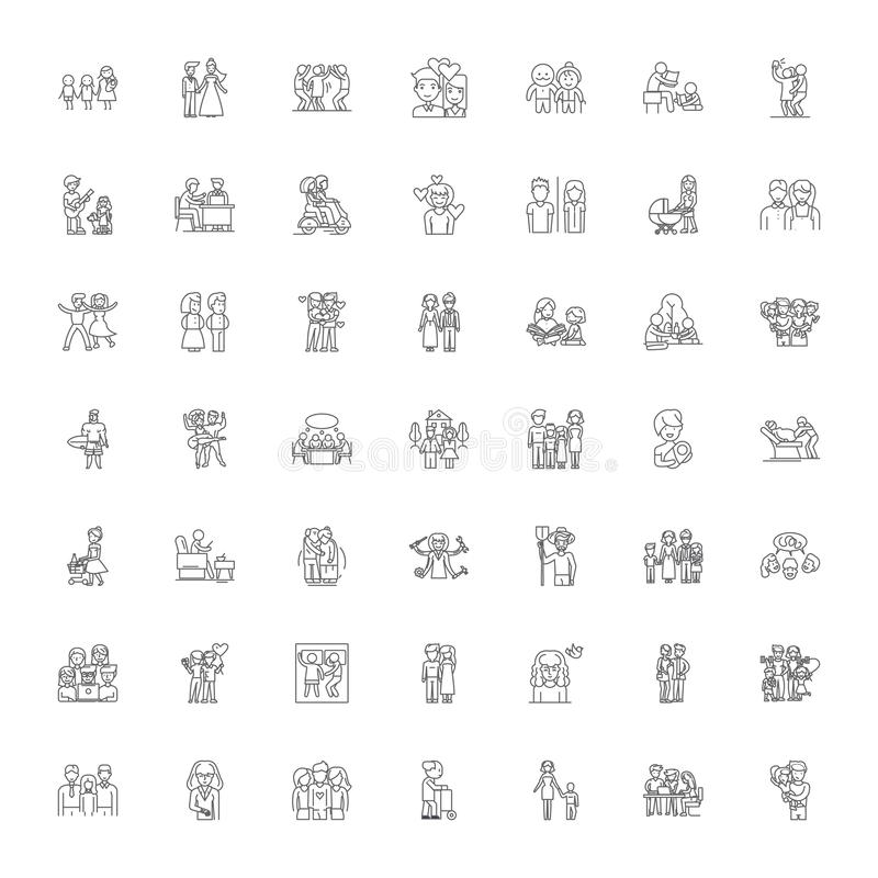 Family members linear icons, signs, symbols vector line illustration set vector illustration