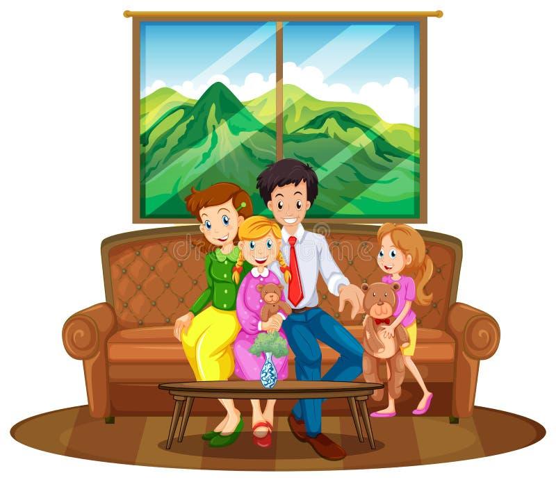 Family members sitting in living room stock illustration