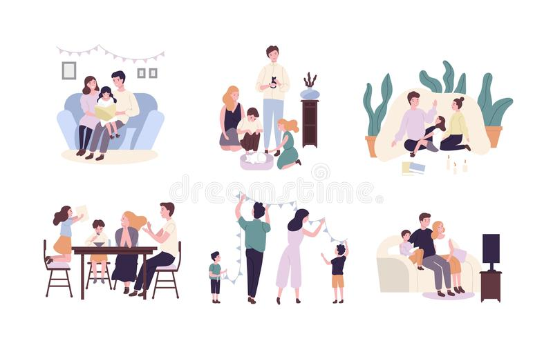 Family members spending time together at home. Mother, father and children reading book, decorating house, watching TV. Cute cartoon characters isolated on stock illustration