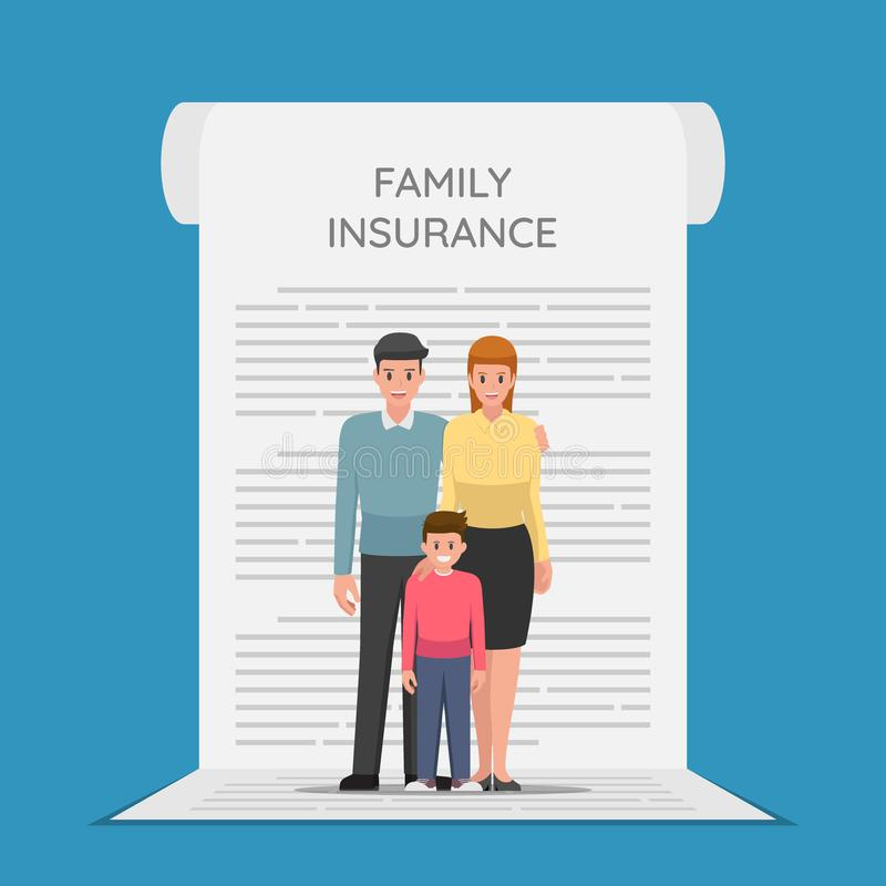 Family Members are standing on the insurance policy document vector illustration