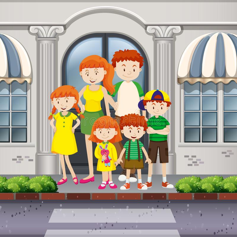 Family members standing on pavement stock illustration