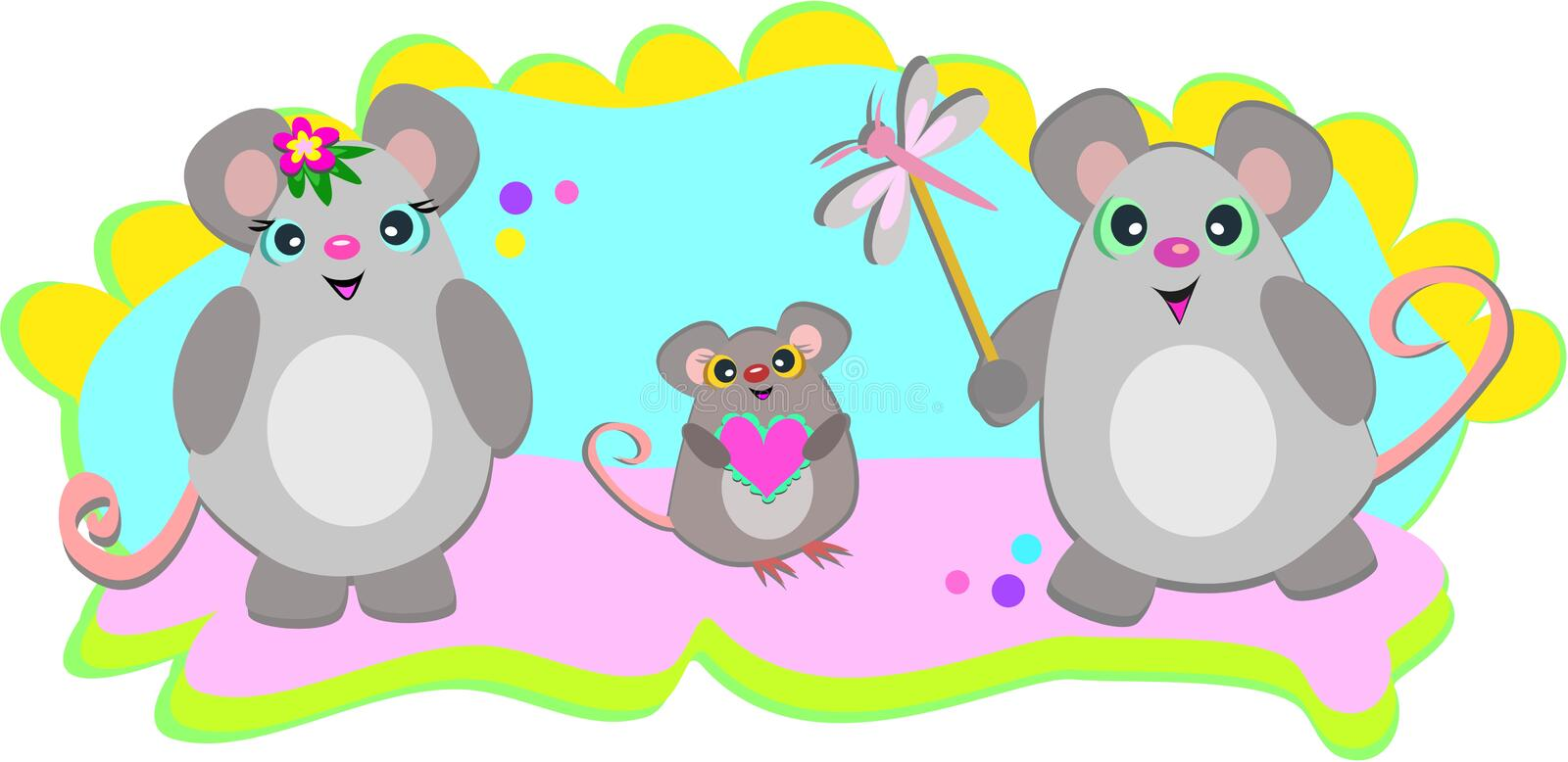 A Family of Mice. Here is a cute family of Mice with colorful decorations royalty free illustration