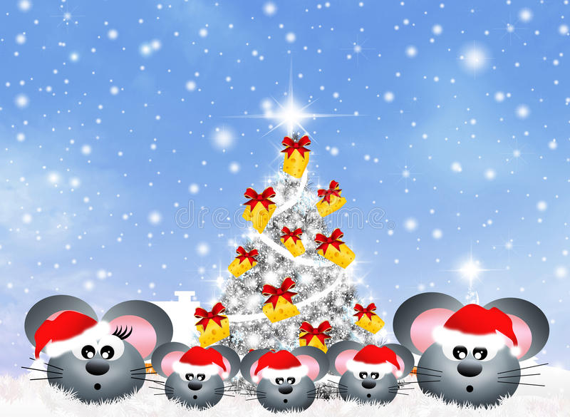 Family of mice at Christmas royalty free illustration