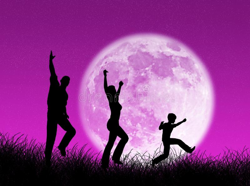 Family In The Moon Free Stock Photography