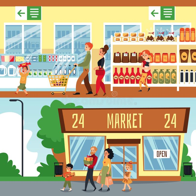 Family with mother and father, daughter and son in a store and supermarket buy purchases. Man and woman with children or kids in shop. Vector flat cartoon royalty free illustration