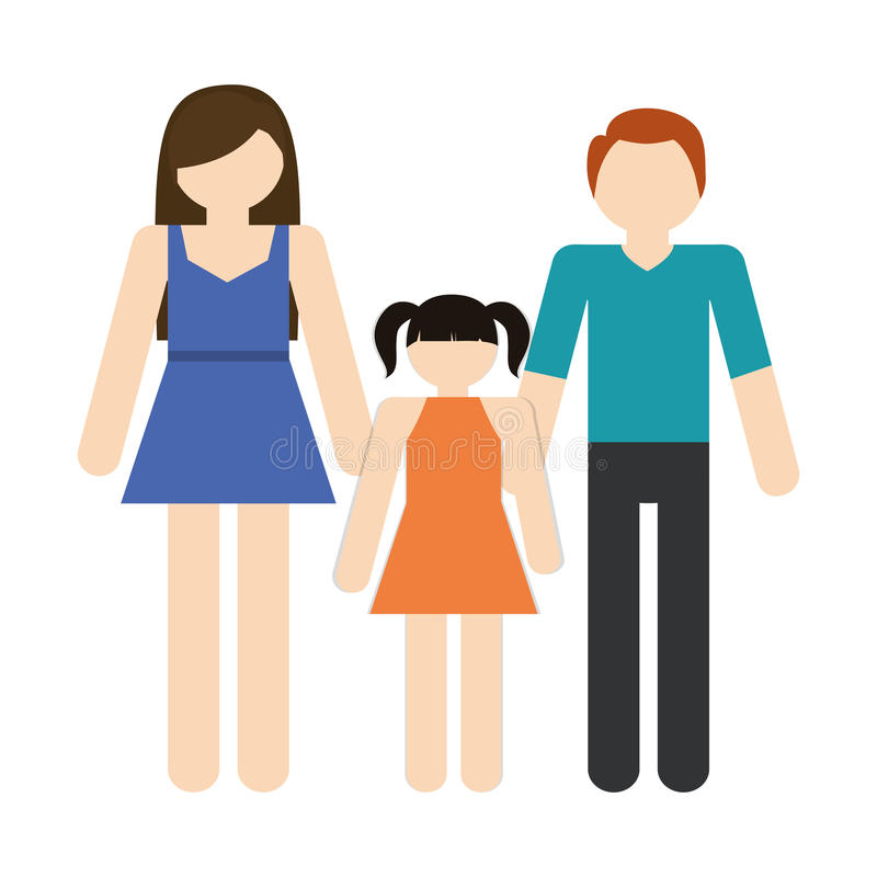 Family mother father daughter together members traditional royalty free illustration