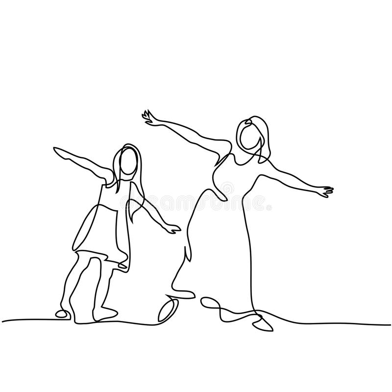 Family with mother and girl in fly. Continuous line drawing. Family with mother and girl in fly. Vector illustration vector illustration