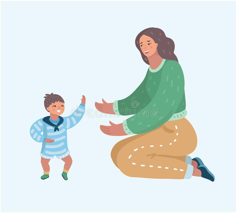 Mother playing with her little son on the floor stock illustration