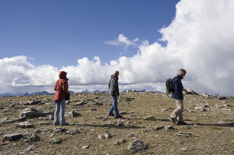 Download Family Mountain Hiking On The Summit Stock Photo - Image: 6311496