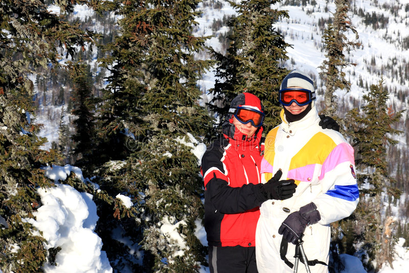 Download Family Of Mountain-skiers. Stock Image - Image: 7920441
