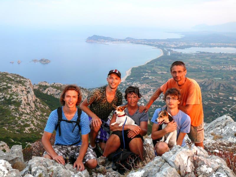 Family mountain trip stock photo