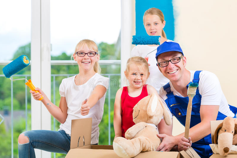 Download Family Moving Home And Renovating House Stock Image - Image: 33973993