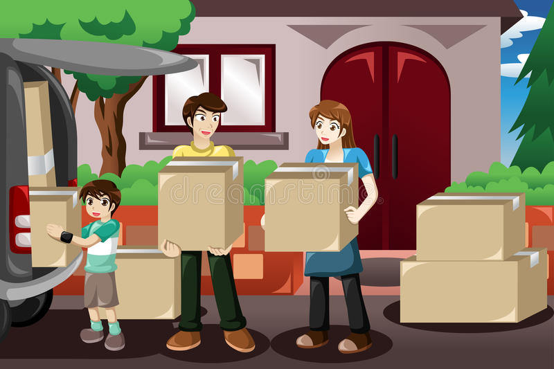 Family moving house stock vector illustration of clipart for Moving to new house
