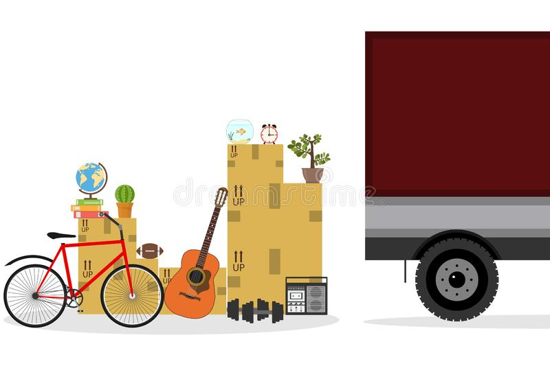 Family moving into new house. Paper cardboard boxes with various household thing. Vector illustration stock illustration