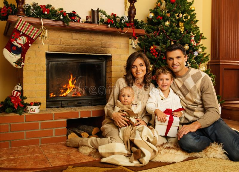 Family Near Fireplace In Christmas House Stock Photo Image Of Child Adult 45035836