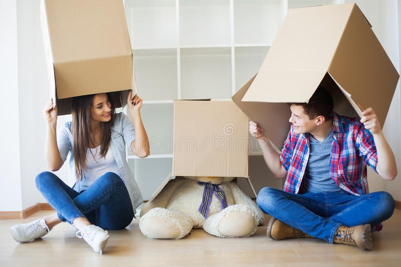 Family New Home Moving Day House Concept stock image