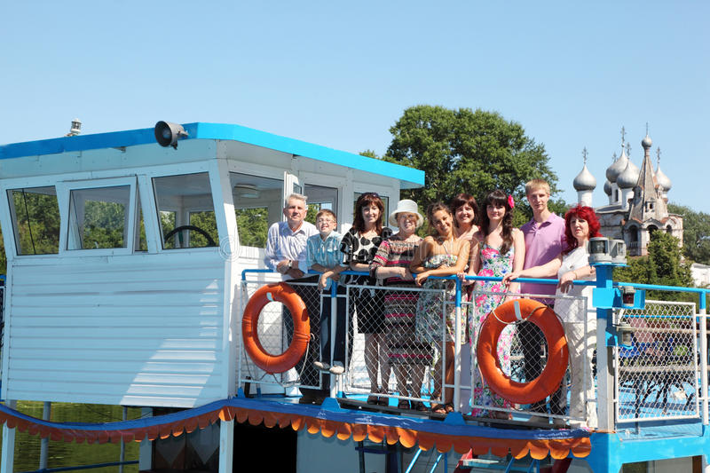 Download Family Of Nine People Walking On Pleasure Craft Royalty Free Stock Images - Image: 27108259