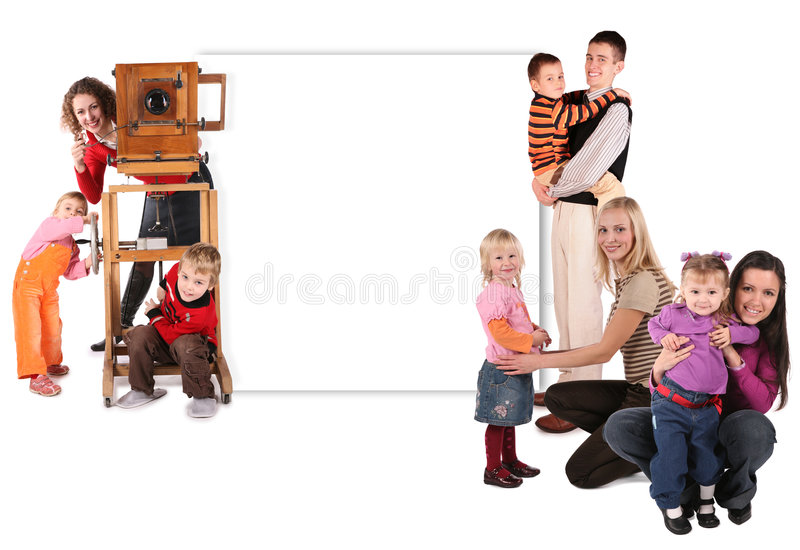 Family with old camera and wall for text collage. On a white background royalty free stock images