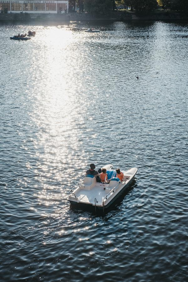 Free Family On A Paddle Boat On Vltava River In Prague, Czech Republic Stock Photo - 134937100